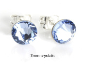 Sparkly 7mm Light Sapphire Blue Crystal Sterling Silver Stud Earrings Made With. ELEMENTS