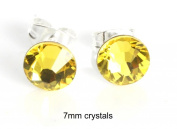 Sparkly 7mm Citrine Lemon Yellow Sterling Silver Stud Earrings Made With. ELEMENTS