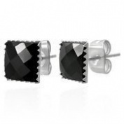 Urban Male Square Faceted Black CZ 7mm Stud Earrings For Men