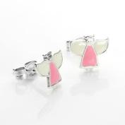 925 Sterling Silver Enamelled Angel Stud Earrings / Studs
