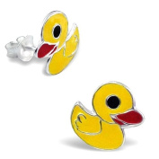 Cute Sterling Silver Rubber Duck Duckie Design Stud Earrings - Comes with FREE Gift Pouch - Studs Measure approx. 1 cm x 1 cm