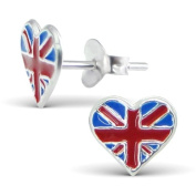 Cute Sterling Silver Union Jack Heart Design Stud Earrings - Comes with FREE Gift Pouch Studs measure approx. 0.7 cm x 1 cm