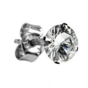 Single Blinging 925 Sterling Silver Mens Round Cubic Zirconia Single 6mm Stud Earring