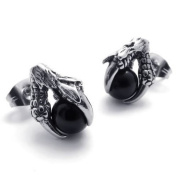 Konov Jewellery Dragon Claw Stainless Steel Men's Stud Earrings Set, 1 Pair 2pcs, Colour Silver Black