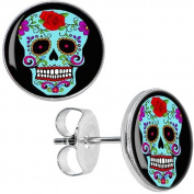 Blue Sugar Skull Stud Earrings