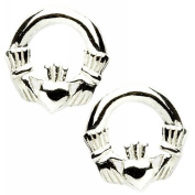 Small Silver Celtic Claddagh Stud Earrings Gift Boxed