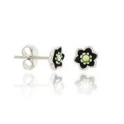 Sterling Silver .925 6mm Light Green Rhinestone Mini Kid Floral Flower Stud Earrings