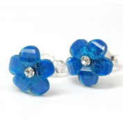The Olivia Collection Sterling Silver Deep Blue Crystal Flower Stud Earrings