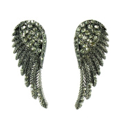 Grey on Antique Black Angel Wing Stud Earrings