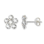 Unique Wishlist Sterling Silver Clear Cubic Zirconia Flower Cluster Studs