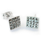 Bling Mens Sterling Silver 6mm Square Micro Pave. Crystal Stud Earrings - White/Clear - Beckham Style