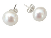 StunningBoutique Large Cultured Freshwater pearl 10mm (925) Sterling Sivler White Pearl Stud earrings, presented in an attractive gift Box