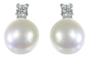 Classical 925 Sterling Silver 7.0mm Pearl Ladies Stud Earrings with Cubic Zirconia/CZ