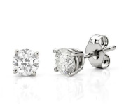 Simply Glamorous Jewellery And Gifts Shop - Platinum/Rhodium 925 Silver Solitaire Stud Earrings 1/2ct Simulated Diamond