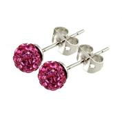 Tresor Paris Proussy Titanium Pink Crystal Stud Earrings 015998