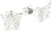 Dew Sterling Silver Women's Butterfly Stud Earrings