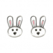 Kids Earrings Cute Bunny Rabbit Childs Earrings Sterling silver Earrings for children