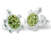 Pair of Small Turtle Sterling Silver Stud Earrings With Green Crystal Stones (1cm x 0.8cm) Supplied in Gift Bag