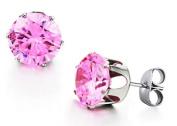 JBG New Jewellery Sweet Pink Shiny Round Crystal Diamond Titanium Earrings Stainless Steel Charming Stud Earrings For Men/Women in a Nice Gift Box