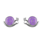Kids Earrings Purple Snails Childs Earrings Sterling silver Earrings for children