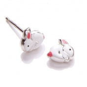 Silver children's enamel white and pink bunny earrings