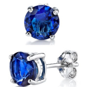 Ultimate Metals Co. 6MM 1.5 Carat TCW High Quality Casted Sterling Silver Round Stud EarRings With Blue Sapphire CZ Cubic Zirconia White Rhodium Basket Setting