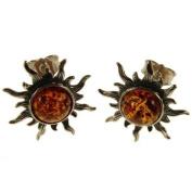 Baltic amber and sterling silver 925 designer cognac sun earrings jewellery jewellery