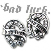 Alchemy Gothic Ul17 Womens Pair Of Bad Luck Horseshoe Crystal And Pewter Stud Earrings Silver
