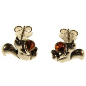 Baltic amber and sterling silver 925 designer cognac squirrel earrings jewellery jewellery