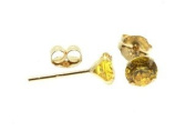Birth Stone Jewels 9ct Yellow Gold 3mm Round November Topaz C Z Set Stud Ear Rings, Four Claw Setting