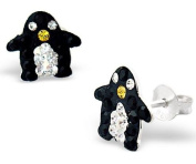 Pair of Small Sparkly Penguin Shaped Sterling Silver Stud Earrings With Black, Clear and Yellow Crystal Stones (1.1cm x 1.0cm) Supplied in Gift Bag - Stocking Fillers