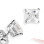 Sterling Silver Princess Cutting Square Cubic Zirconia White Stud Earrings