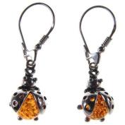 Baltic amber and sterling silver 925 designer cognac ladybird dangling hoops earrings jewellery jewellery