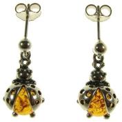 Baltic amber and sterling silver 925 designer cognac dangling stud ladybird earrings jewellery jewellery