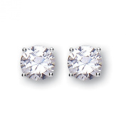 Silver and white cubic zirconia 7mm stud earrings