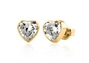 9ct Yellow Gold Cubic Zirconia Heart Stud Earrings