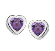 Silver ES1123-15 Amethyst Heart Stud Earrings