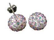 9ct Yellow Gold 8mm Ladies' Rainbow AB Crystal Ball Stud Earrings
