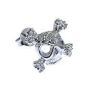 Ace Jewellery Of York Men's Sterling Silver And CZ Skull Stud Earring