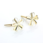 9ct Yellow Gold 4 Leafed Flower Andralok Stud Earrings / Studs