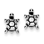 Sterling Silver Antique Turtle Post Earrings - JewelryWeb