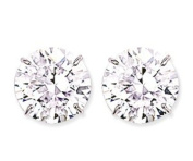 Mbody, Very Large Rhodium Plated, Sterling Silver 14mm Round, Clear CZ Set Earring Studs