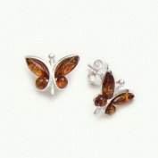 BALTIC AMBER & STERLING SILVER BUTTERFLY STUDS EARRING