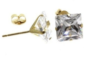 Birth Stone Jewels 9ct Yellow Gold Four Claw Stud Ear Rings Set With 7mm Square Cubic Zirconia's