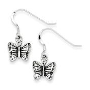 Sterling Silver Antiqued Butterfly Earrings - JewelryWeb