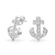Bling Jewellery Sterling Silver Stud Earrings Cubic Zirconia Anchor Nautical