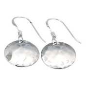 Silver Small Hammered Disc hook Earrings