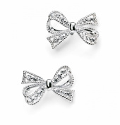 Elements Sterling Silver for Ladies with Silver and Cubic Zirconia Bow Earrings E4692C