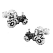 Earring stud tractor silver 925