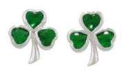 Green Zirconia Celtic Shamrock Stud Earrings
